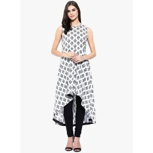 SASSAFRAS White Printed Tail Cut Kurta