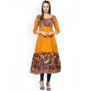 AKS Orange Cotton Kalamkari Printed Anarkali Kurta