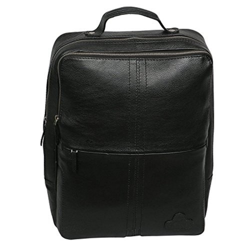 MOZRI 15 inch Pure Black Leather Laptop Backpack