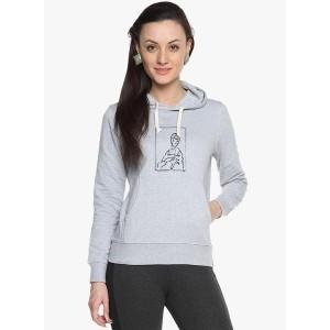 Campus Sutra Grey Graphic Sweatshirt for Women