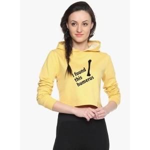 Campus Sutra Yellow Printed Sweatshirt for Women