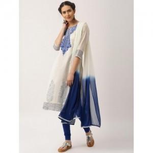 IMARA by Shraddha Kapoor Off-White & Blue Khadi Print Churidar Kurta with Dupatta