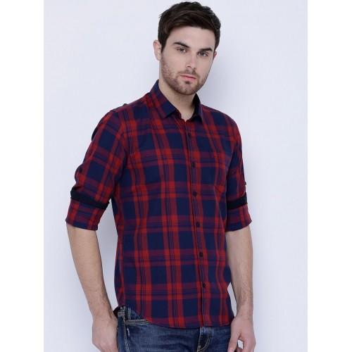 HIGHLANDER Men Navy Blue & Red Slim Fit Checked Casual Shirt