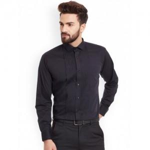 Hancock Black Cotton Slim Fit Partywear Shirt
