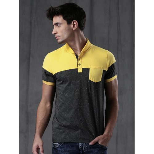 Wrogn Charcoal Grey Solid Polo T-Shirt