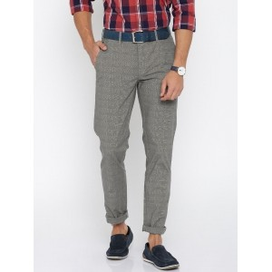 CODE by Lifestyle Grey Checked Slim Fit Chino Trousers