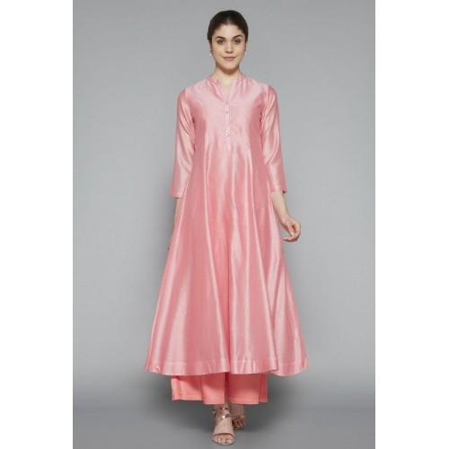 848efb0ba8 ... Zuba by Westside Light Pink Cotton and Silk Solid Kurti with Front  Button Placket ...