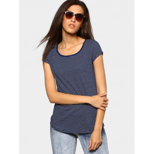 2b58512441212a ... Top; Fame Forever by Lifestyle Women Navy & White Striped Regular Fit  ...