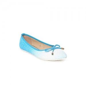 DressBerry White & SKy Blue Shimmery Ballerinas