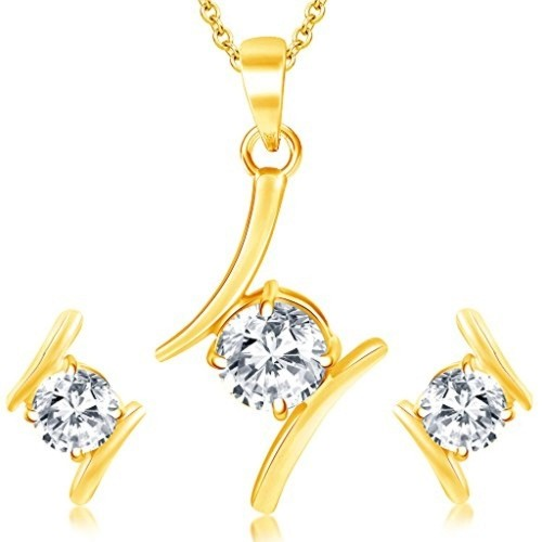 Sukkhi Modern Gold Plated Solitaire Set of 3 Ladies Ring & 1 Pendant Set Combo For Women