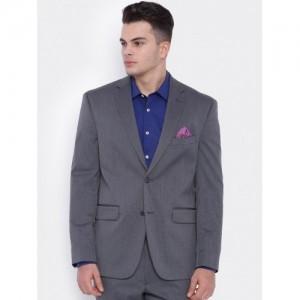 SUITLTD Grey Polyester Single-Breasted Blazer