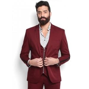 MR BUTTON Maroon Slim Fit Single-Breasted Blazer