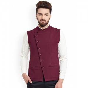 Hypernation Maroon Solid Cotton Nehru Jacket
