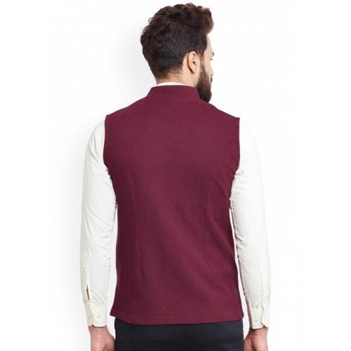 Hypernation Maroon Solid Cotton Nehru Jacket