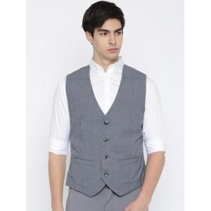 Parx Gray Solid Cotton Waistcoat