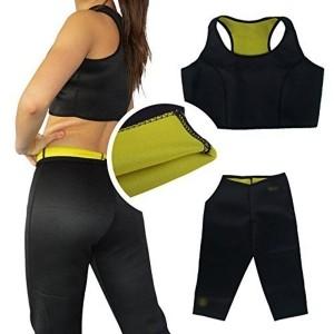 Diswa Women Hot Shapers Full Sport Slimming BodySuit Sleeveless T-Shirt & Pant Stretch Neoprene Slimming Body Shapers Tight Suit (XL)