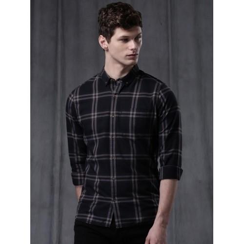WROGN Men Black Slim Fit Checked Casual Shirt