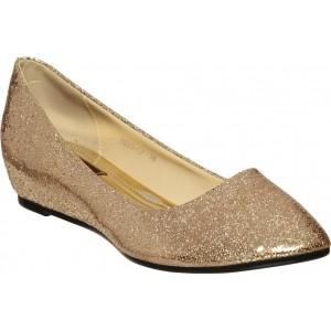 Flat n Heels Golden Artificial Leather Slip On Bellies