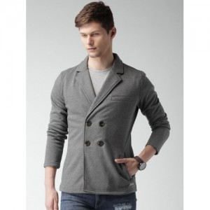 Mast & Harbour Grey Poly Cotton Solid Blazer