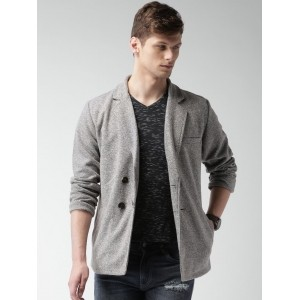 Mast & Harbour Grey Double-Breasted Casual Blazer