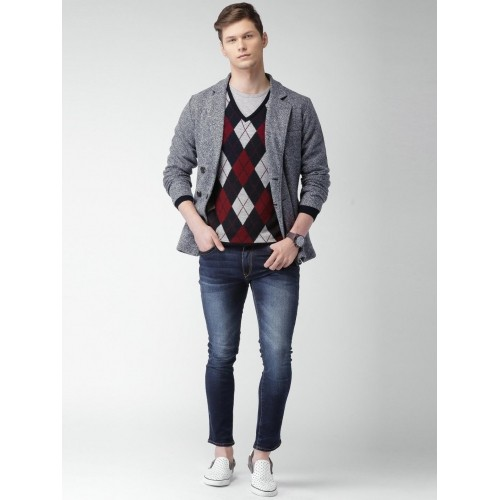 Mast & Harbour Navy & Grey Double-Breasted Casual Blazer