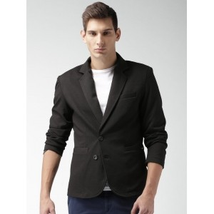 Mast & Harbour Black Single-Breasted Casual Blazer