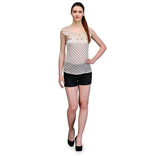 The Gud Look Poly Chiffon Dotted Frilled Neck Cream Barbie Top - Cream