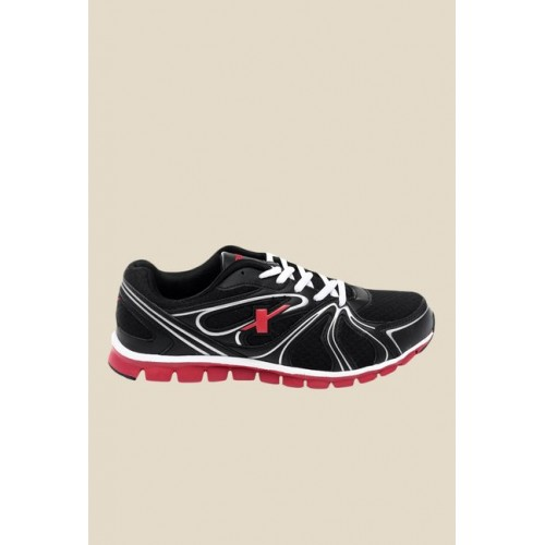 Sparx Black & White Mesh Lace-up Running Shoes