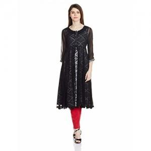 Rangriti Black Woven Cotton Anarkali Kurta With Jacket