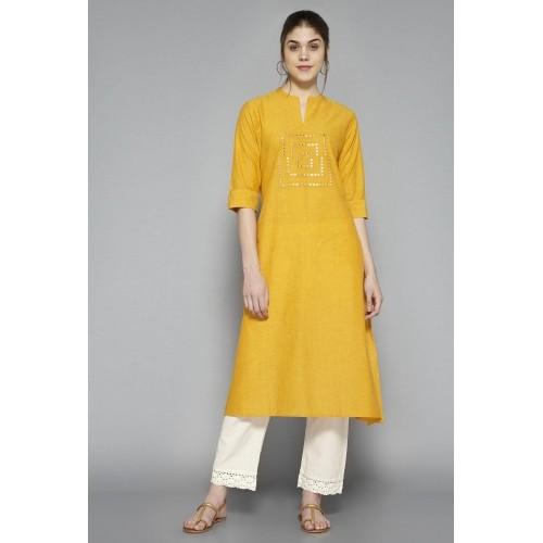 1d1c51ce0 Buy Utsa Yellow Cotton Embellished Kurta online