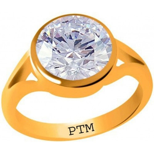 PTM Certified Zircon (American Diamond) Gemstone 4.25 Ratti or 3.87 Carat for Male and Female Panchdhatu 22K Gold Plated Alloy Ring