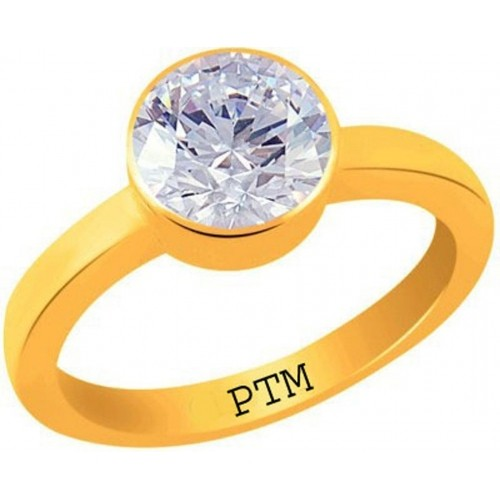 PTM Certified Zircon (American Diamond) Gemstone 10.25 Ratti or 9.32 Carat for Male and Female Panchdhatu 22K Gold Plated Alloy Ring