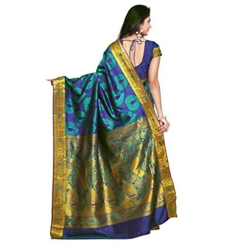 Varkala Blue Silk Art Kanchipuram Saree