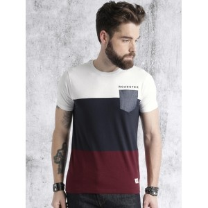 Roadster Time Travlr White & Navy Colourblocked Round Neck T-shirt