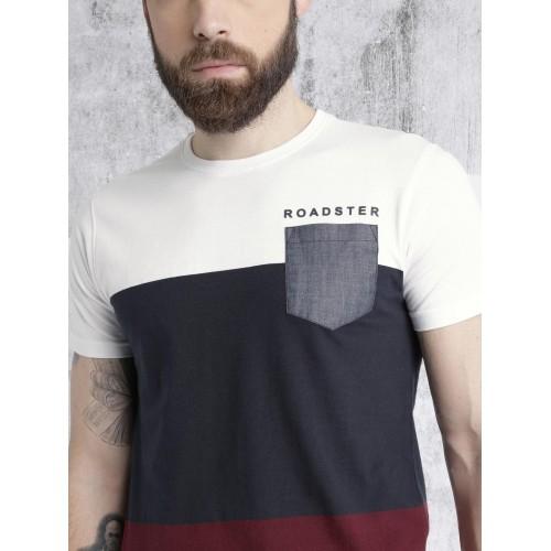 Roadster Time Travlr White & Navy Colourblocked Round Neck T-shirt