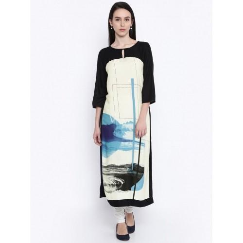 8bfe8693bad Buy RANGMANCH BY PANTALOONS Women Cream   Navy Printed A-Line Kurta ...