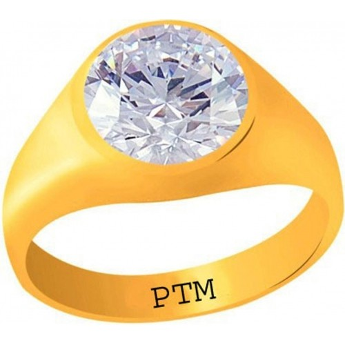 PTM Certified Zircon (American Diamond) Gemstone 9.25 Ratti or 8.41 Carat for Male Panchdhatu 22K Gold Plated Alloy Ring