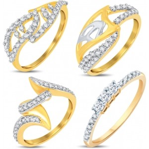 Sukkhi Alloy Cubic Zirconia 18K Yellow Gold Ring Set