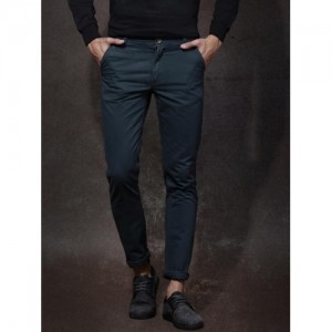 Roadster Teal Cotton Solid Chinos