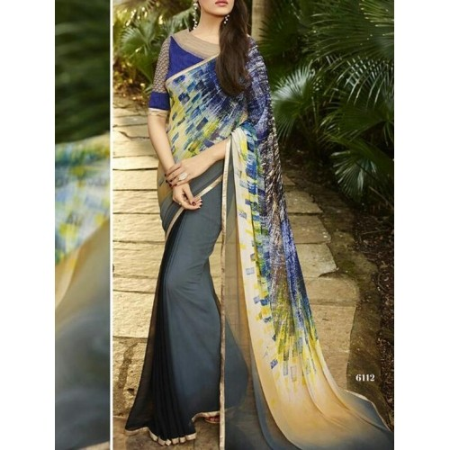 India Tell Me Multicolored Georgette Printed Saree