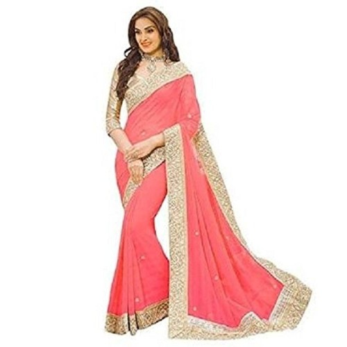 SAREES(Women's Clothing Sarees for Women latest Color Sarees collection in latest Sarees with designer Blouse Piece free size beautiful Georgette bollywood