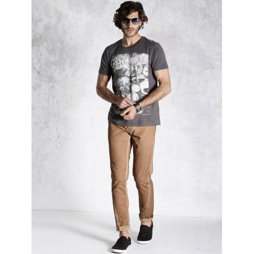 RDSTR Brown Twisted Leg Washed Slim Fit Trousers