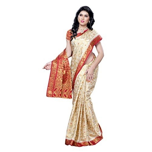Mimosa Kanchipuram Tassar Wedding Silk Saree White(3051-97-HLFWHITEMARUN)