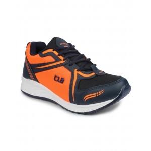 Columbus Navy Blue & Orange Synthetic Lace Up Sports Shoes