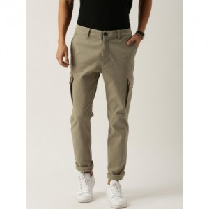 Jeep Unisex Beige Solid Regular Fit Cargo Trousers
