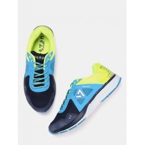 SEVEN by MS Dhoni Men Blue & Fluorescent Green Zeus Running Shoes
