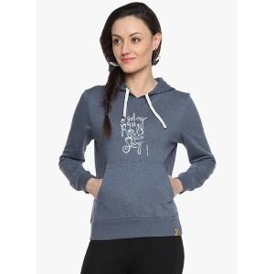 Campus Sutra Blue Graphic Sweatshirt for Women