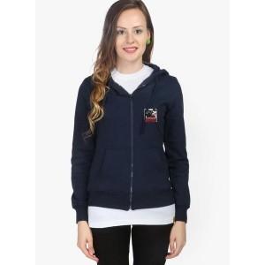 Campus Sutra Blue Solid Sweatshirt for Women