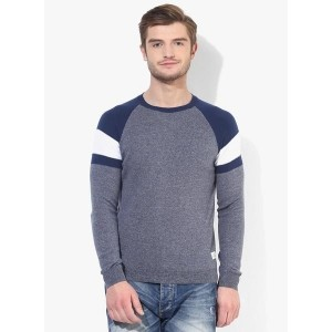 United Colors of Benetton Blue Solid Round Neck Sweater