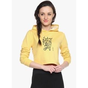 Campus Sutra Yellow Graphic Sweatshirt for Women
